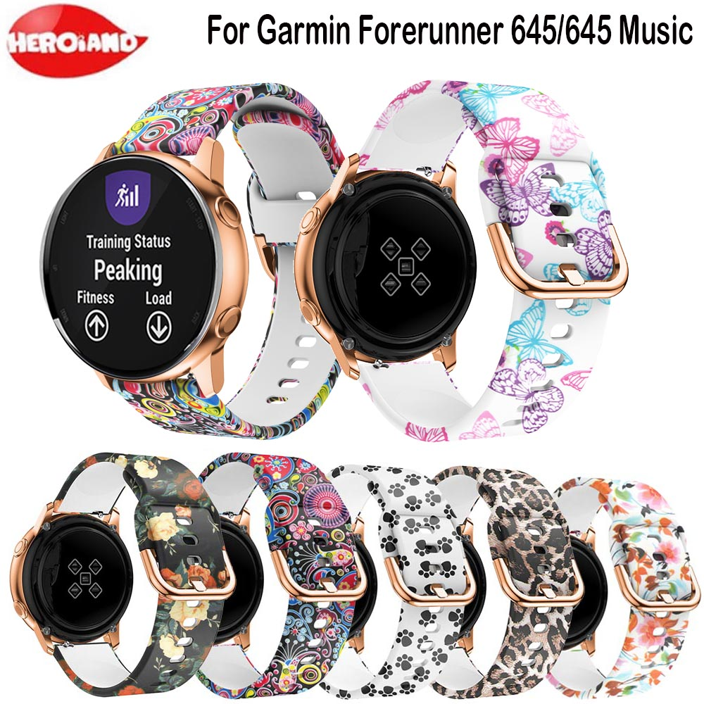 Printing Silicone Watch Band Bracelet For Garmin Forerunner 645 245 245M Replacement Wristband For Garmin Vivoactive 3 Straps