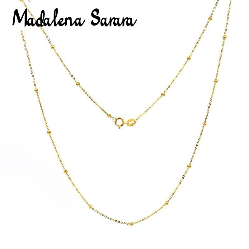 MADALENA SARARA pur 18k or chaîne collier Au750 or Simple chaîne boule collier