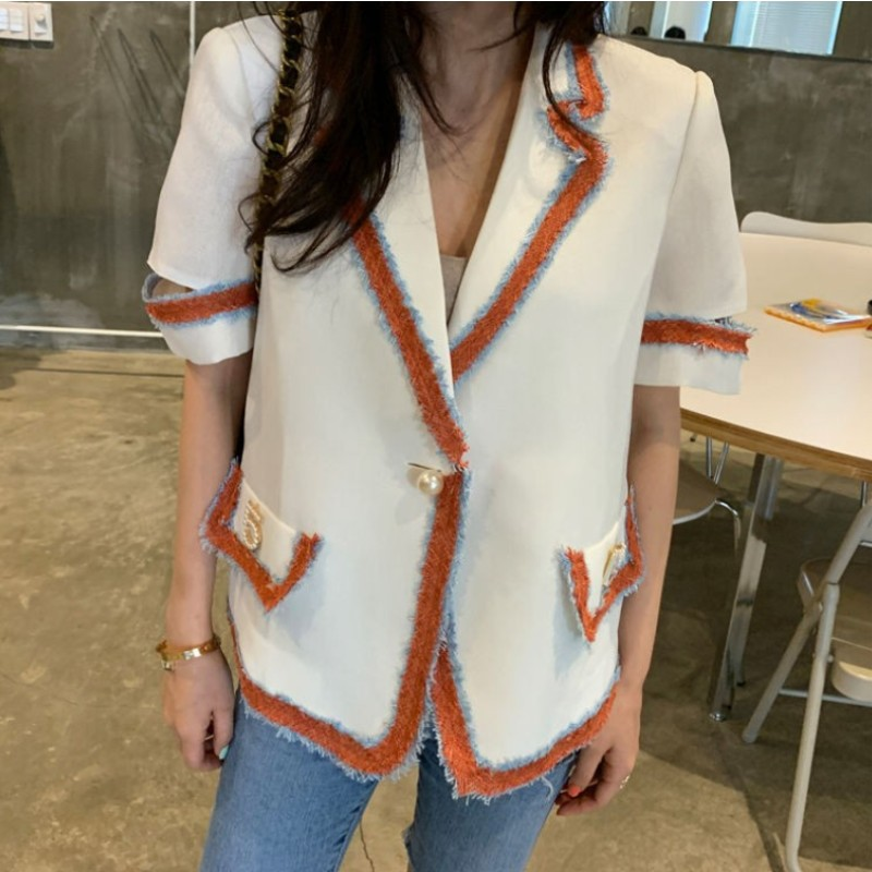 High Street Notched Collar Hit Color Women Blazer Single Button Summer Jacket 2020 Casual Pockets Female Suits Fashion Coat
