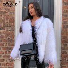 Coat Women Jacket Faux-Fur Warm Fluffy Black White Winter Ladies Thick Streetwear Curly