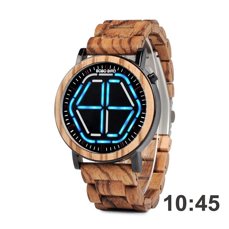 Bobobird nuevo estilo LED moda Casual hombres madera mesa con números estudiantes reloj electrónico - 2