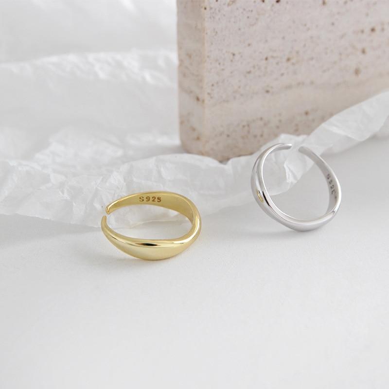 XIYANIKE 925 Sterling Silver Irregular Wave Rings Trendy Simple Geometric Handmade Jewelry for Women Couple Size 17mm Adjustable 3