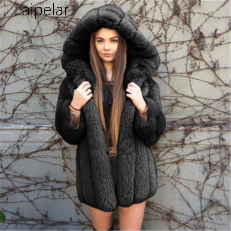 Nouveau à capuche à manches longues femmes manteau fausse fourrure épaissir manteau grande taille fourrure à capuche Parka longue épaisse en peluche manteau vêtement d'extérieur pour femmes - 4