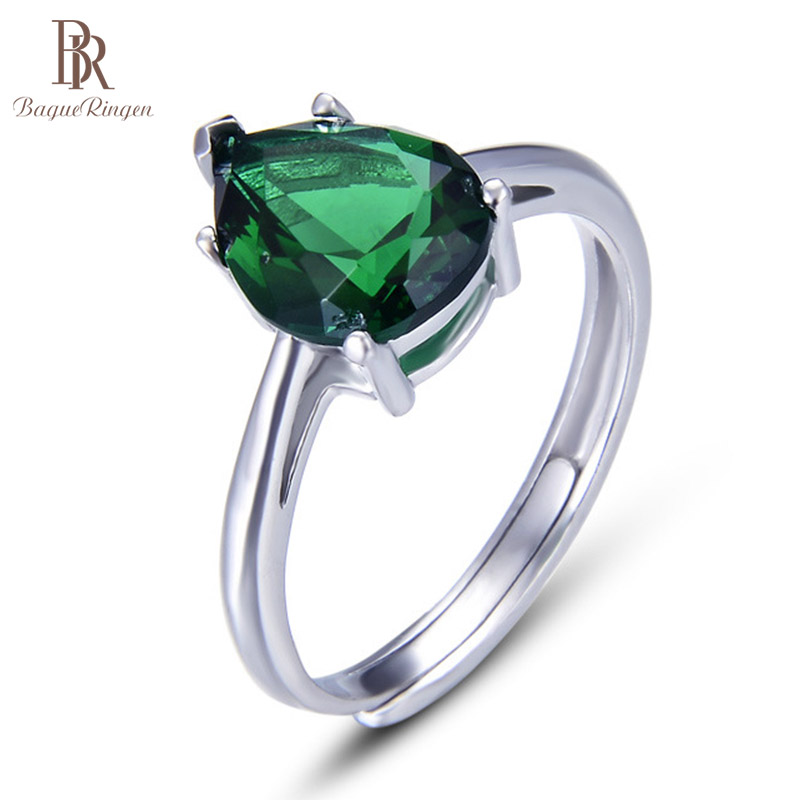 Bague Ringen Water Drop Shaped Emerald Ring for Women Classical Silver 925 Jewelry Resizable Gemstones Accessory Wholesale Party
