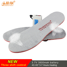 Warmspace Rechargeable Heated Insoles 3800mAh Feet Warm Shoe Pad Thermal Electric Foot Winter Ski Insoles Heated Outdoor Sports