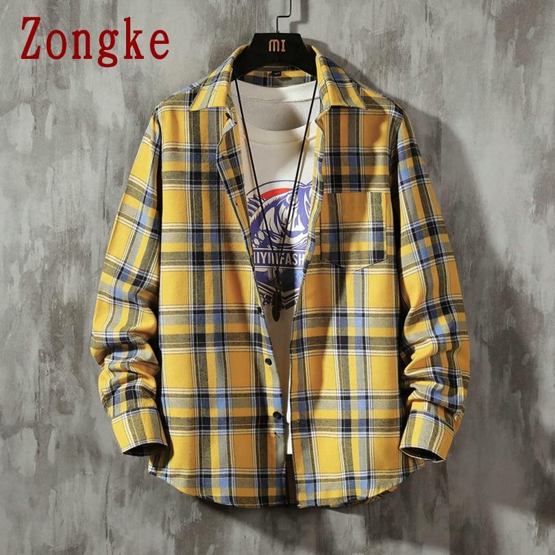 Zongke 2020 New Spring Yellow Casual Plaid Shirt Men Slim Fit Cotton Male Long Sleeve Shirts Men Fashion Brand Plus Size M-5XL