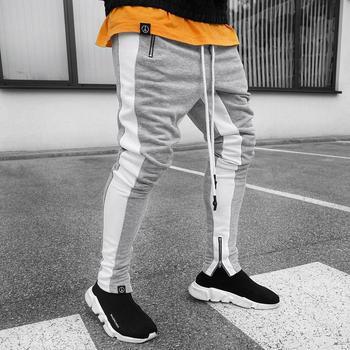 grey\white men jogging pants striped sport pants