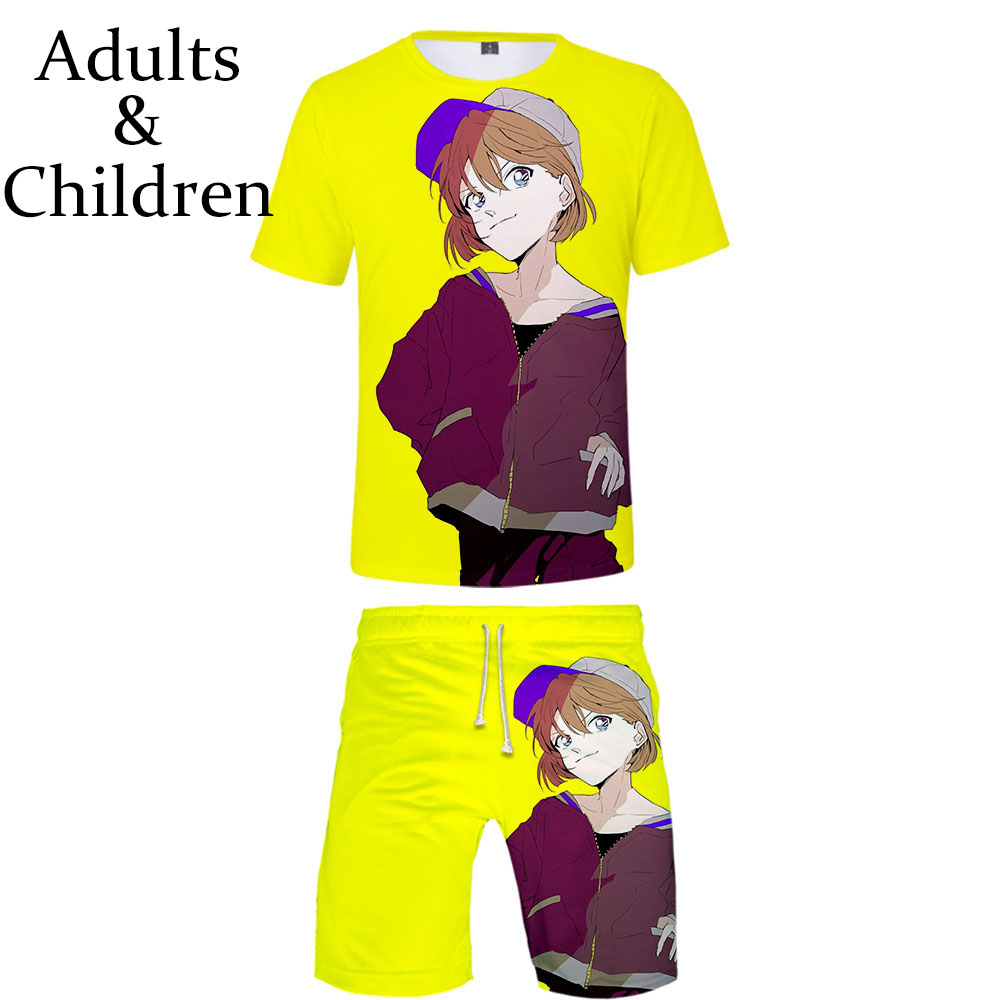 Popular 3D Detective Conan T-shirt + Shorts Male / Female Summer Children Anime Two-piece Suit Boys And Girls Fashion Suit