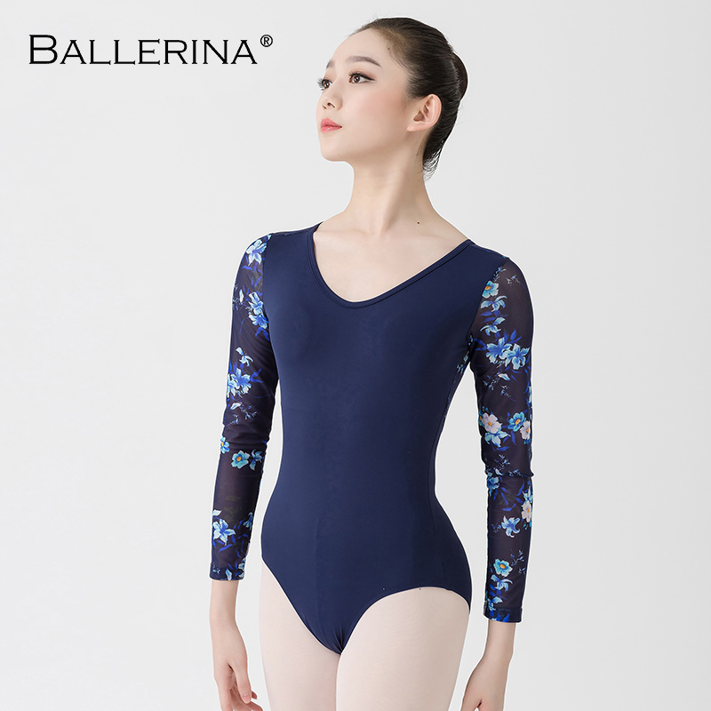 Image 3 - Ballet Leotards long sleeve For Women Dance Costume open back gymnastics printing mesh Leotards Ballerina 5887Ballet   -