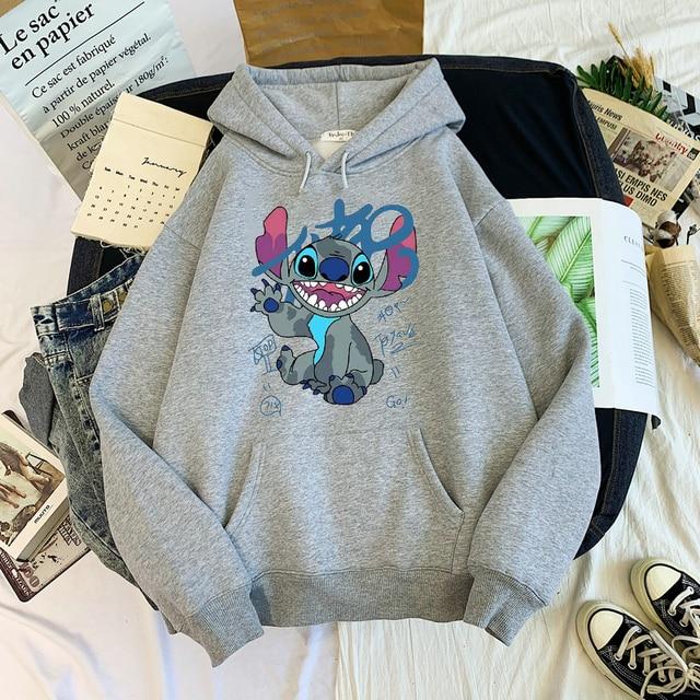 Disney Stitch Hoodies Women Harajuku Pullovers Cute Kawaii Casual Tops O-Neck Angel Print Hooded Sweatshirt Long Sleeves 6