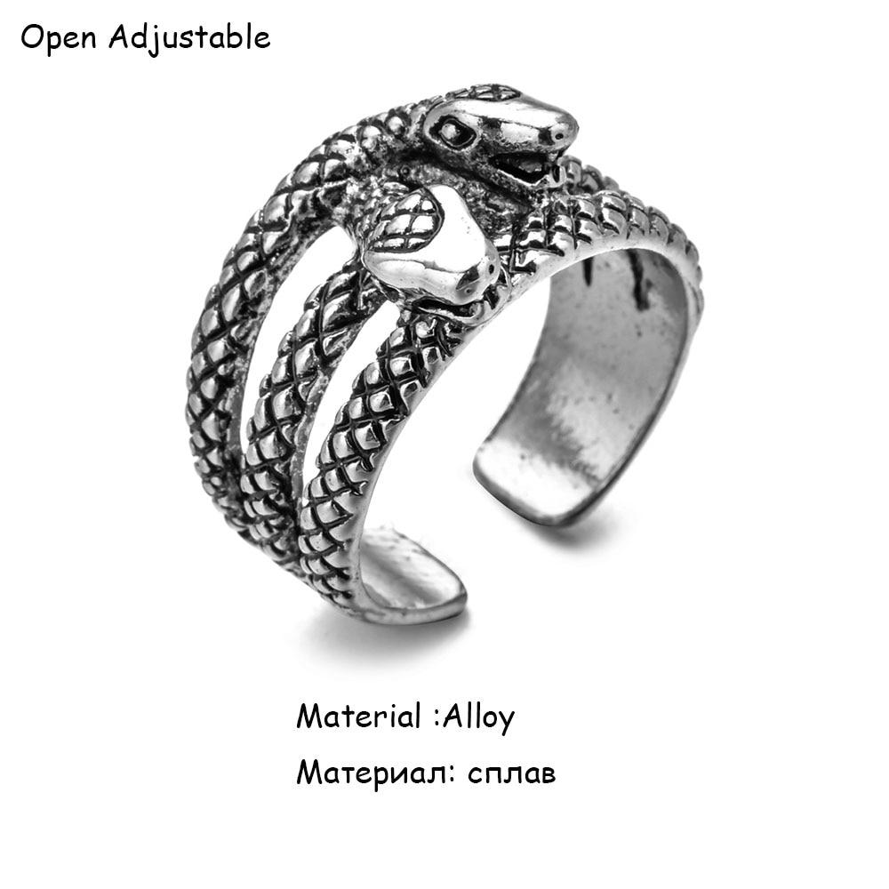Anello serpente Punk retrò per uomo donna esagerato anelli regolabili con apertura Color argento antico Anillo Hombre Bijoux 2