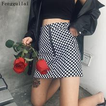 Women Zipper Up cotton Skirt Fashion Sexy  Mini Plaid Skirts Womens High Waisted