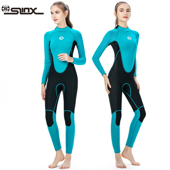 Womens Wetsuit Long Sleeve Full 3mm Neoprene Surfing Scuba Diving Snorkeling Swimming Suit Back Zip Swimsuit One Piece Back Zip