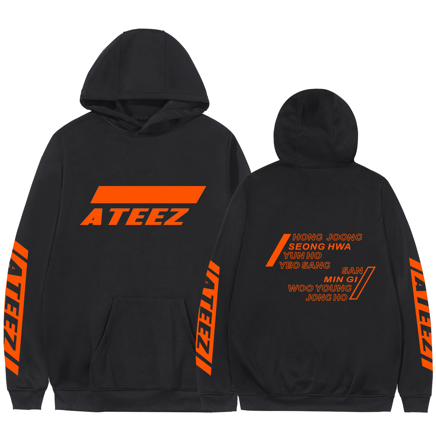 2019 Ateez Kpop New Album Sweatshirt With Pocket Crewneck Fleece Warm Kawaii Haajuku Long Sleeve Winter Hoodies