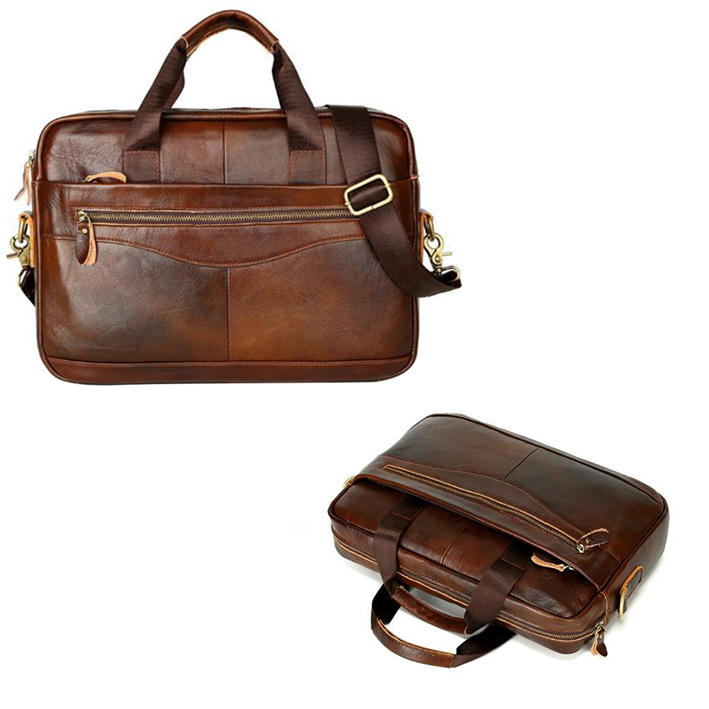 Storage Men Briefcase Artificial Leather Portable Solid Handbag Multifunction Zipper Square Work Business Case Large Capacity