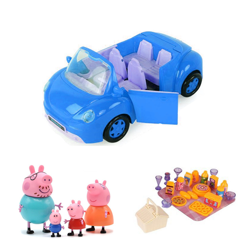 Peppa pig George Toys Car Station wagon Sports car Action Figure Original Anime toys for children Cartoon Family Birthday Gift