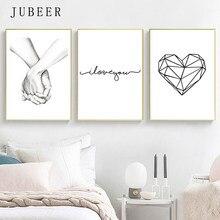 Cartaz de amor nórdico eu amo você imagem impressão minimalista casal arte da parede decoração casa citação pintura da lona para o quarto decoração casa
