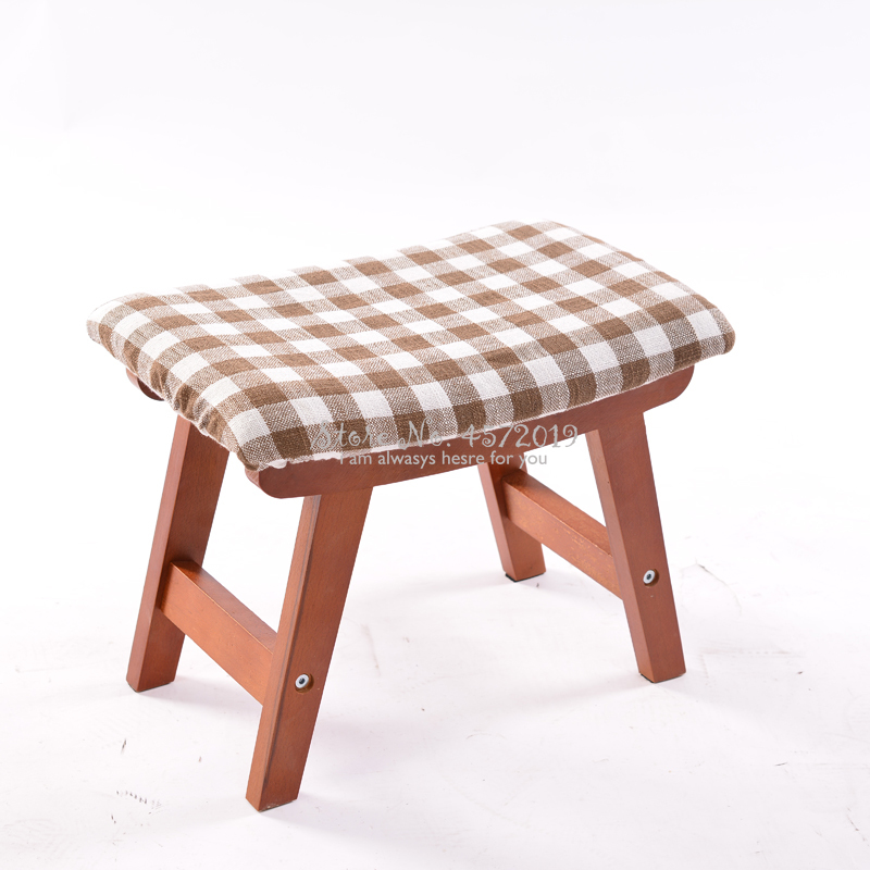 Solid Wood Stool Home Fashion Creative Adult Shoes Bench Simple Modern Rectangular Low Bench Fabric Stool|  - title=