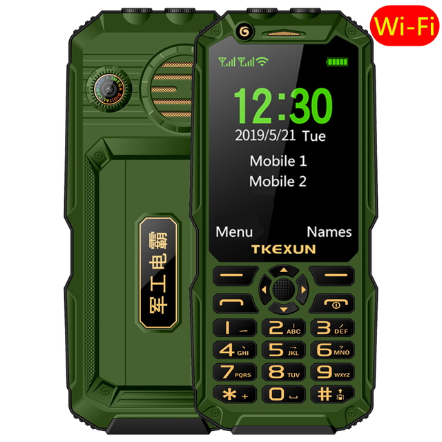 "WCDMA 3G mobile phone 3.0"" touch screen Power Bank Wifi Push button Dual SIM Dual Flashlight loud Speaker cellphone russian key"
