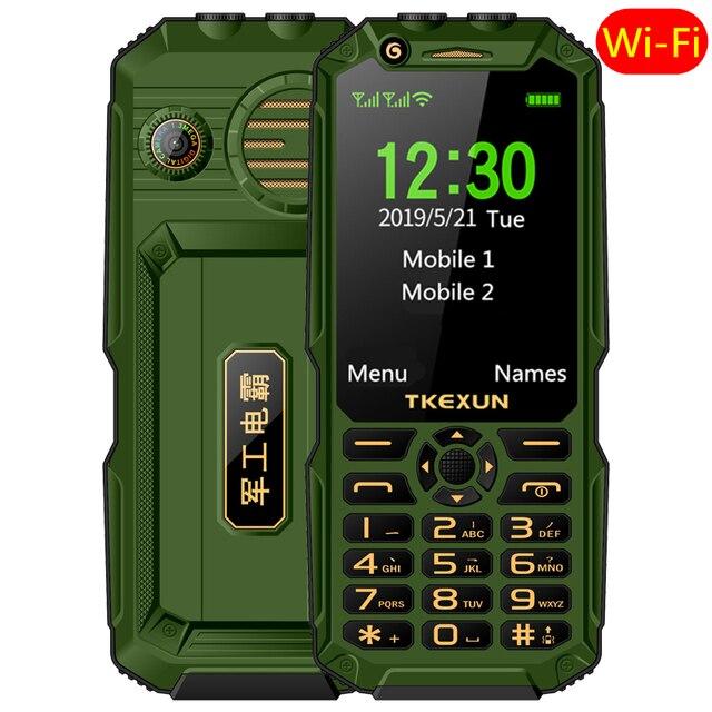 """Wcdma 3g 휴대 전화 3.0 """"터치 스크린 전원 은행 와이파이 푸시 버튼 듀얼 sim 듀얼 손전등 시끄러운 스피커 핸드폰 러시아어 키"""