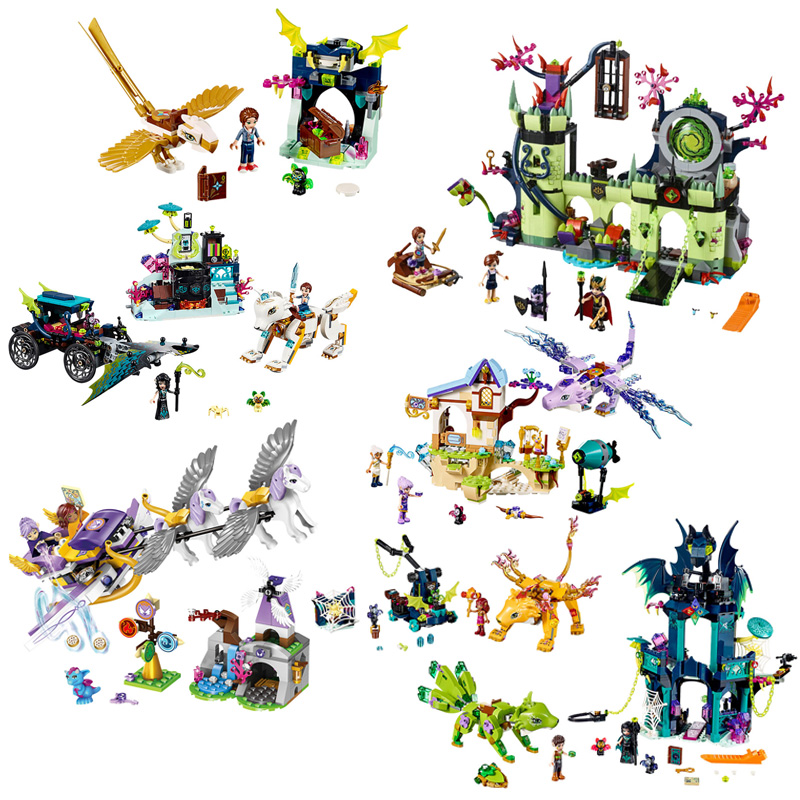 <font><b>Legoing</b></font> Friend Figures Elves Girl <font><b>Dragon</b></font> Knights Sanctuary <font><b>Castle</b></font> Building Blocks Toys compatible Legoingse Princess Elf Animals image