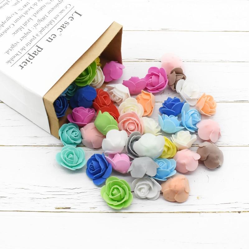 50 pçs mini multicolorido pe espuma rosa cabeça artificial flor diy casamento decoração para casa festival fontes de festa teddy bear de rosa