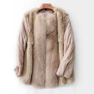 Image 3 - Abrigo de invierno con cuello de piel de zorro saco Bomber de mujer Mujer