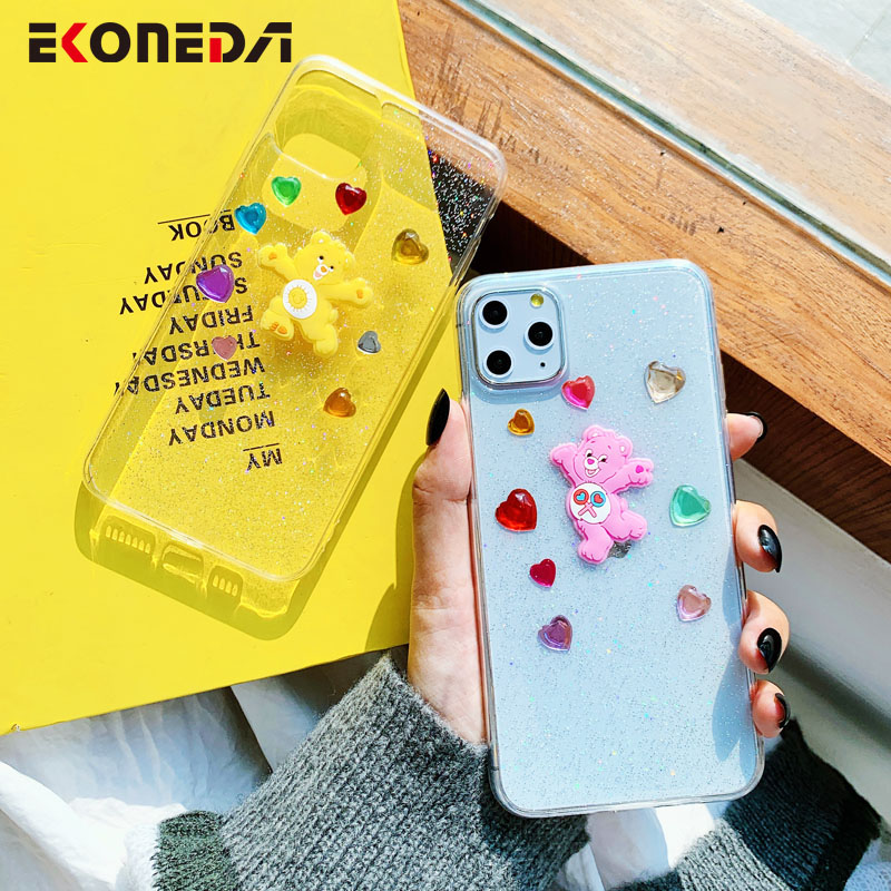 EKONEDA Cute 3D Hearts Bear Case For iPhone 11 Pro Max X XS Max XR Case Glitter Silicone Crystal Case For iPhone 7 6 6S 8 Plus