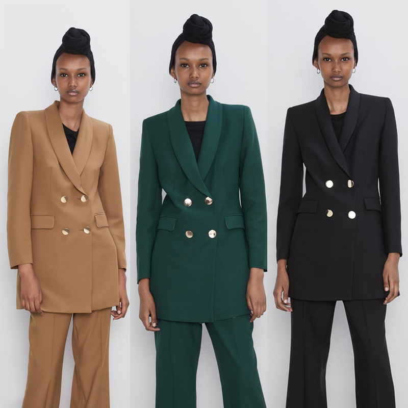 2019 ZA Fashion Vintage Casual Solid Blazers Women Clothing Double Breasted Multicolor Suit Coat Office Lady Female Clothing