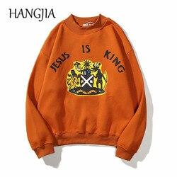 Orange Fleece Pullovers Sweatshirts Kanye West Jesus Is King Hip Hop Autumn Winter Mens Pullover Hoodie Stranger Things