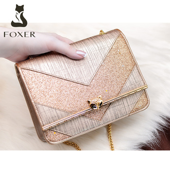 FOXER Brand Evening Bag Exclusive Original Women Split Leather Shoulder Bags Female Flap Classic Lady Small Crossbody