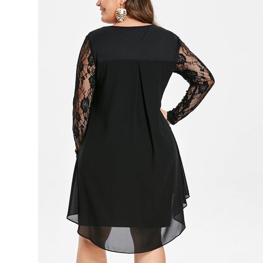 vestido de mujer Fashion Women Casual Plus Size Sheer Lace Sleeve High Low Hem O Neck