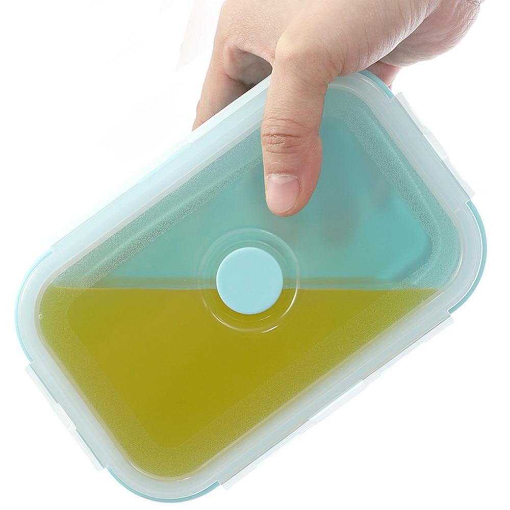 Silicone Pieghevole Cibo Pasto Box 4 Pcs Portatile di Pranzo Contenitore per Microonde Rettangolare Conservazione Degli Alimenti Picnic di Campeggio Esterna - 5