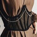 Топ женский сетчатый короткий на шнуровке, пикантный топ с запахом в готическом стиле, бандажный кроп-топ с цепочкой, клувечерние няя одежда...