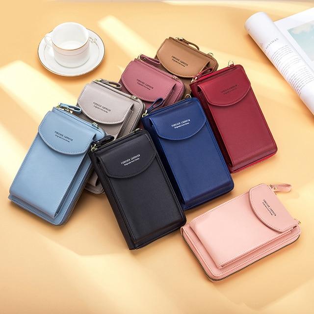 Buylor Mobile Phone Bag Women's Bag PU Handbag Pure Color Wallet Card Holders Shoulder Straps Mini Purses 5