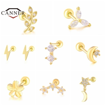 1PC Leaf/Flower/Moon 925 Sterling Silver Cartilage Ear Stud Crystal Zircon Earrings for Women Small Studs Piercing Jewelry