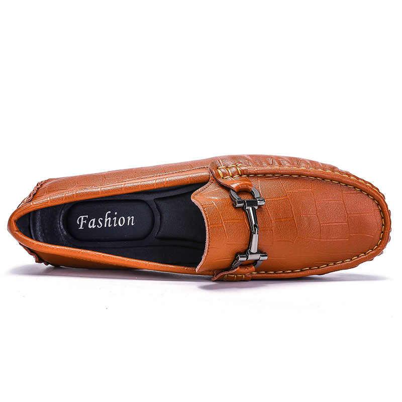 AREQW zapatos masculinos de cuero de vaca antideslizantes mocasines casuales para hombre primavera y otoño zapatos mocasines para hombre de cuero genuino para hombre pisos