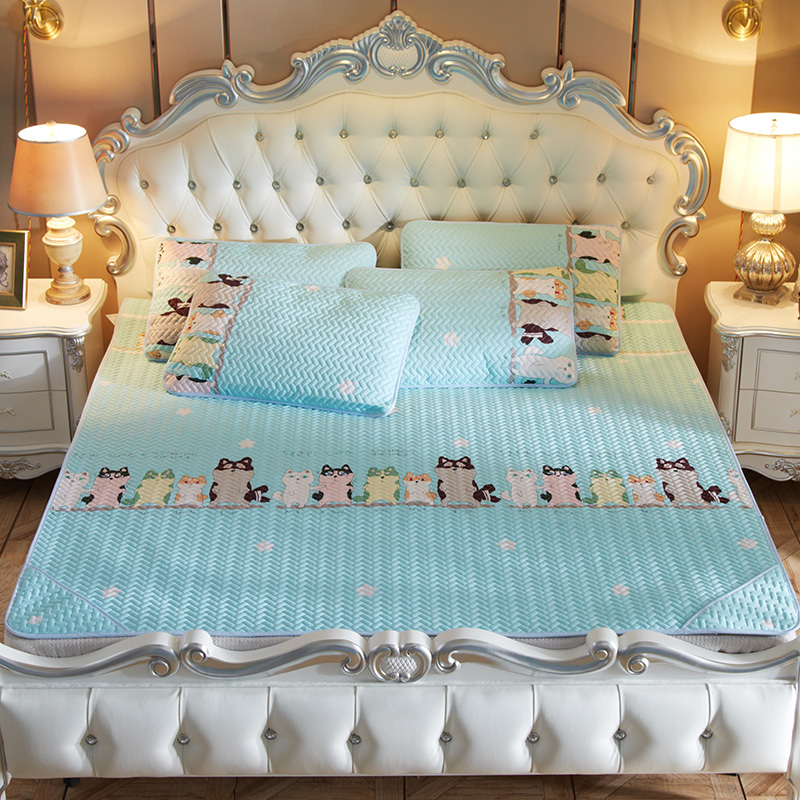 Summer Cartoon Pattern Bedding Tencel Soft Mat Cool And Breathable Washable Foldable Air Conditioning Mat Comfortable Breathable