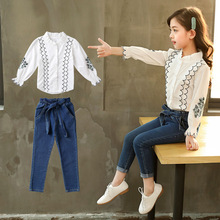 Children Girls Clothing Spring 2019 Fashion Embroidered Lace Shirt With Denim Pants 2pcs Sets School Kids for Clothes Suit