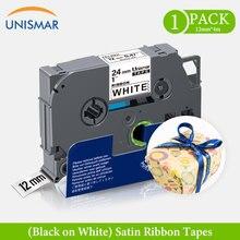 Satin PT-1000 Ribbon-Tapes Label-Maker Tze-231 Unismar Black 12mm P-Touch White Compatible