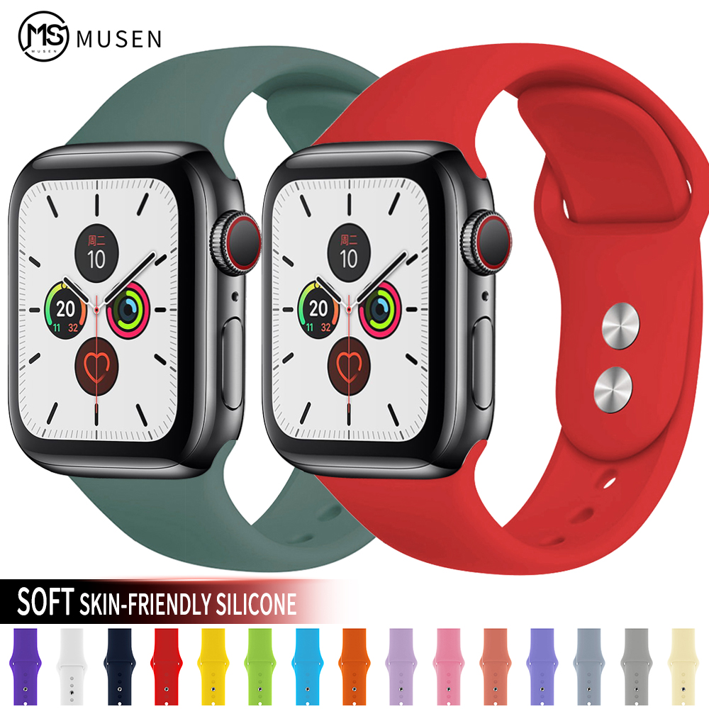Soft Silicone Sport Band For Apple Watch Series 5 4 3 2 1 42mm 38mm 40mm 44mm Wrist Bracelet Strap For IWatch Accessories