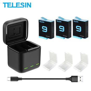 TELESIN 배터리 1750 mAh GoPro 영웅 9 3 가지 방법 LED 라이트 배터리 충전기 TF 카드 배터리 저장소 GoPro 영웅 9 블랙 디지털 배터리    -