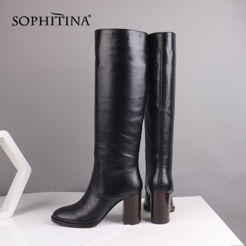 SOPHITINA Solid Fashion Boots Comfortable Warm Round Toe Square Heel Genuine Leather New Shoes Knee-High Women's Boots SC217 sophitina fashion round toe ladies boots casual metal decoration med heel shoes winter basic solid square heel women boots so203