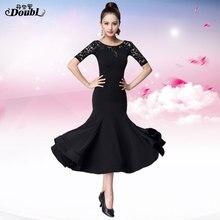 Doul Современная юбка новое женское платье для бальных танцев, национальный стандарт, танцевальное платье для соревнований, платье для социальных занятий, длинный рукав до локтя