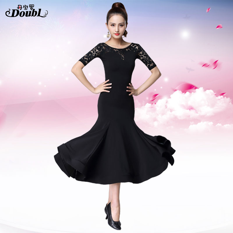 Doubl Modern Skirt New Women's Dress Ballroom National Standard Dance Competition Dress Social Practice Long Half Sleeve