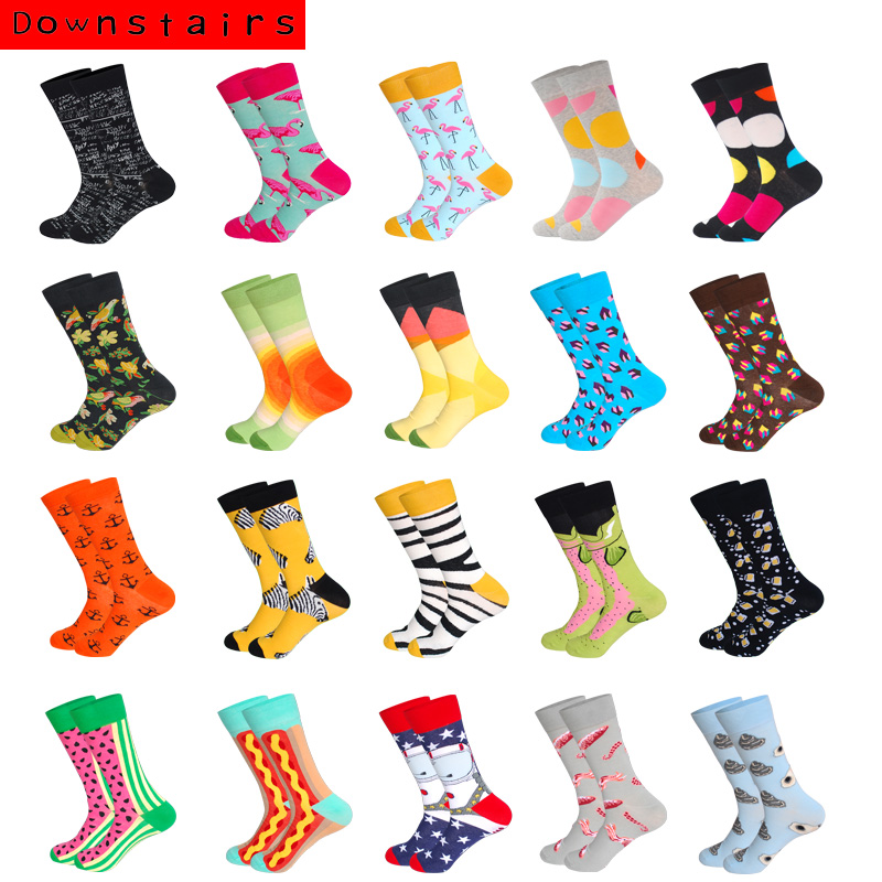Downstairs Compression Skateboard Socks Men Hip Hop Zebra Flamingo Colored Patterns Funny Brand Designer Crew Calcetines Long