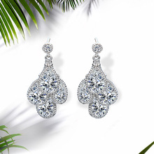 NJ High Quality Silver Irregular Hanging Dangle Earring For Woman Big Drop Earrings Crystal Jewelry Wedding Gift