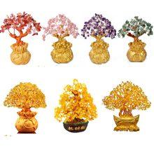 Ornamento de árvore de dinheiro de cristal ouro lingote árvore desktop deco yuanbao fortuna árvores feng shui sorte riqueza presente chinês árvore dourada