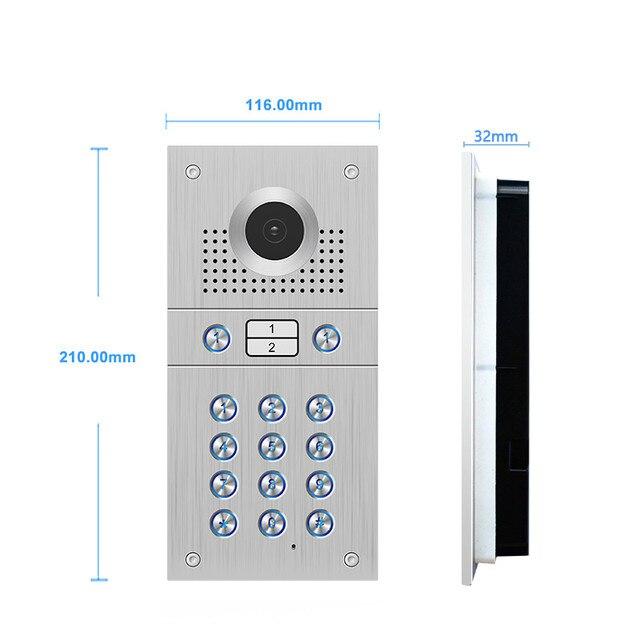 7 zoll Touch-Taste Monitor Stahl Outdoor Panel Video Tür Sprechanlage System RFID Karte/Tastatur Kamera Für 2 wohnung Haus