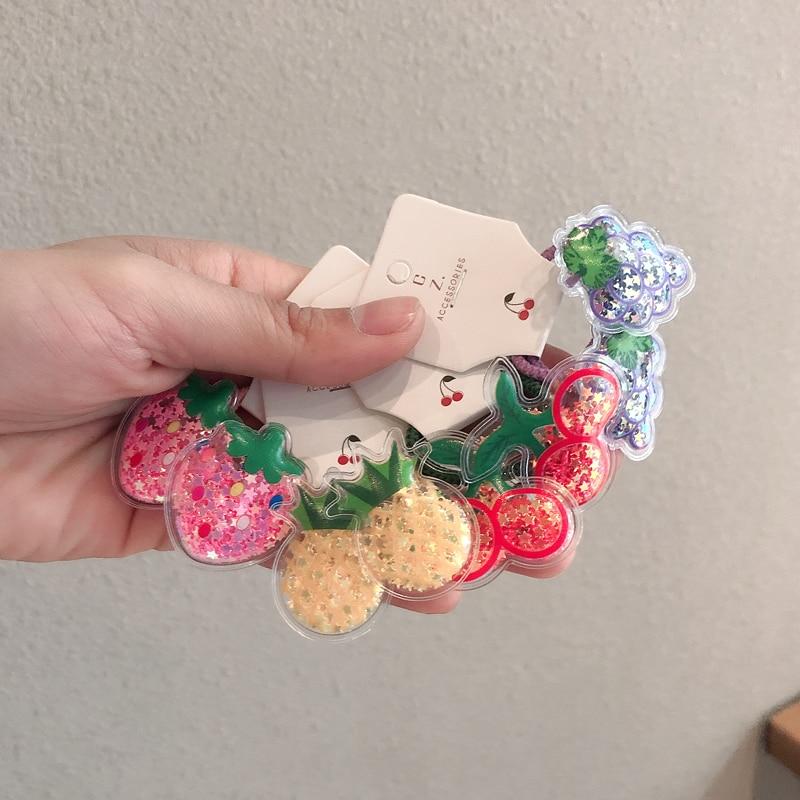 2PCS Fruit Quicksand BB Clips Kids Hairpins Children Headwear Baby Cartoon Clips Headdress Elastic Hair Bands Girls Accessories